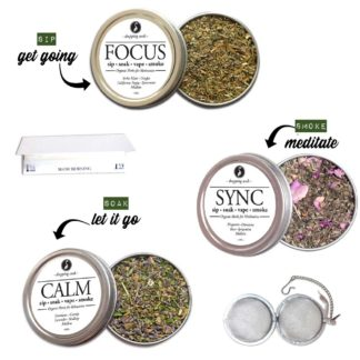 Organic Herbal BASIC ALL DAY KIT for Relaxation, Motivation & Mediation with HEMP flower cannabinoids for Smoking Tea Bath Vape SALE COUPON RIDETHEWAVE