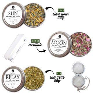 Organic Herbal BODY KIT for Relaxation, Motivation & Mediation with HEMP flower cannabinoids for Smoking Tea Bath Vape SALE COUPON RIDETHEWAVE