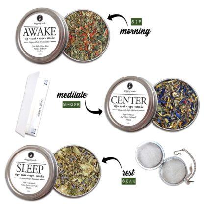 Organic Herbal EMOTIONAL KIT for Relaxation, Motivation & Mediation with HEMP flower cannabinoids for Smoking Tea Bath Vape SALE COUPON RIDETHEWAVE