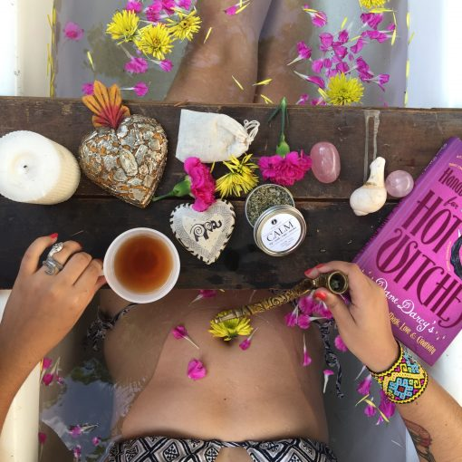 Calming Organic Herbs in a Relaxing Bath with Damiana, Catnip, Lavender, Skullcap + Mullein