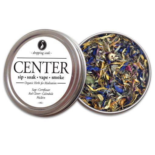 CENTER Organic Herbs for Meditation by Smoking Tea Bath Vape with Sage, Cornflower, Red Clover, Calendula + Mullein