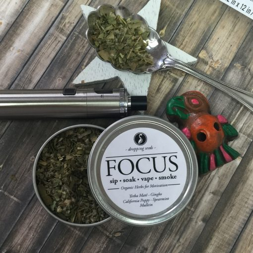 Motivating Organic Herbs for Concentration for Vaporizing in dry herb vaporizer with Ginkgo, Yerba Mate, California Poppy, Spearmint + Mullein