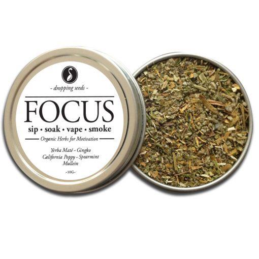 FOCUS Organic Herbs for Motivation by Smoking Tea Bath Vape with Ginkgo, Yerba Mate, California Poppy, Spearmint + Mullein