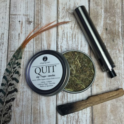 Smoking Cessation Organic Herbs for Quitting Nicotine Cigarettes by Vaporizing in dry herb vaporizer with Lobelia, Coltsfoot, California Poppy, Gotu Kola + Mullein