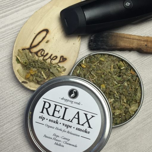 Relaxing Organic Herbs for Relaxation in a dry herb vaporizer with Hops, Catnip, Passion Flower, Chamomile + Mullein