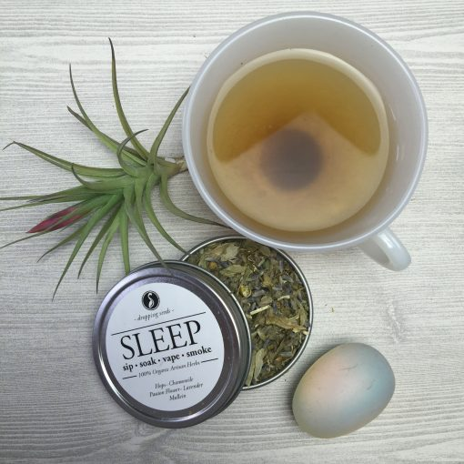 Relaxing Organic Herbs for Rest in Tea with Hops, Chamomile, Passion Flower, Lavender + Mullein