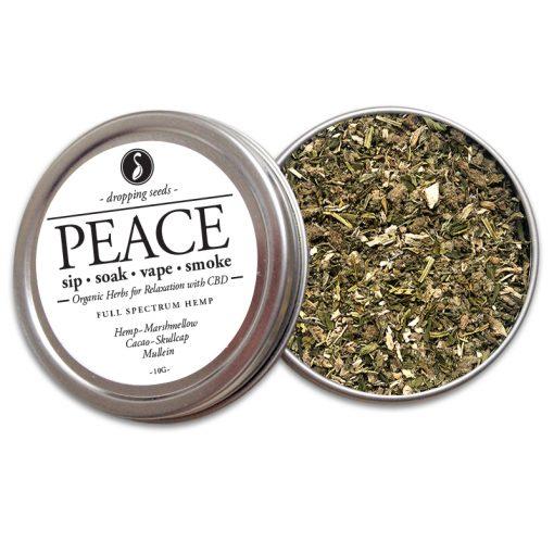 PEACE Organic Herbs for Relaxation with HEMP CBD by Smoking Tea Bath Vape with Hemp, Marshmallow, Cacao, Skullcap + Mullein