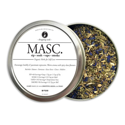 MASC HIS Organic Herbs Aphrodisiac by Smoking Tea Bath Vape with Bachelors Button, Damiana, Kava Kava, Cloves + Mullein