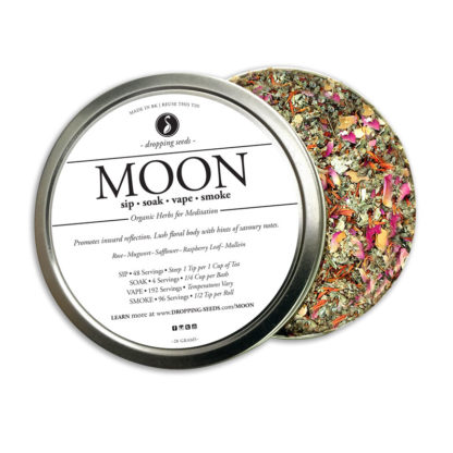 MOON Organic Herbs for Meditation + Womb Healing by Smoking Tea Bath Vape with Rose, Mugwort, Safflower, Raspberry Leaf + Mullein