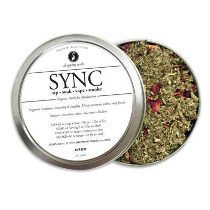 SYNC Organic Herbs for Meditation by Smoking Tea Bath Vape with Mugwort, Damiana, Rose, Peppermint + Mullein