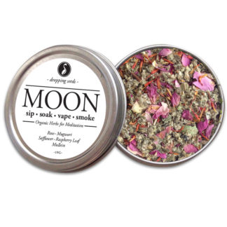 MOON Organic Herbs for Meditation + Womb Healing by Smoking Tea Bath Vape with Rose, Mugwort, Safflower, Raspberry Leaf + Mullein