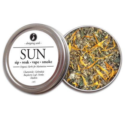 SUN Organic Herbs for Motivation by Smoking Tea Bath Vape with Chamomile, Calendula, Raspberry Leaf, Nettles + Mullein