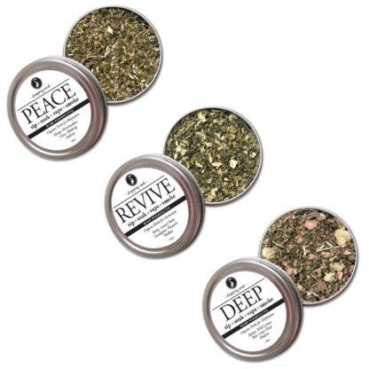 Organic Herbal Trio for Relaxation, Motivation & Mediation with HEMP flower cannabinoids for Smoking Tea Bath Vape with Hemp, Wild Lettuce, Blue Lotus, Hops, Lemon Balm