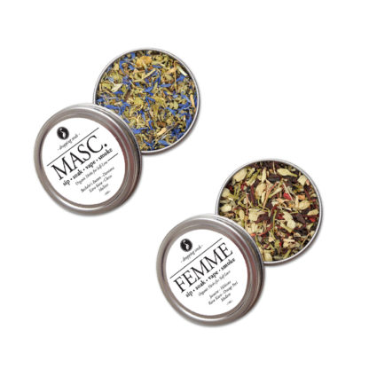 Organic Herbal Duo for Self care & Love by Smoking Tea Tisanes Bath Vape with Bachelors Button, Damiana, Kava Kava, Cloves, Jasmine, Hibiscus, Orange Peel + Mullein