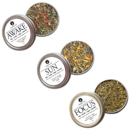 Organic Herbal Trio for Motivation, Coffee Alternative, Concentration for Smoking Tea Tisanes Bath Vape with Gotu Kola, Yerba Mate, Nettles, Safflower, Ginkgo, Yerba Mate, California Poppy, Spearmint, Chamomile, Calendula, Raspberry Leaf, Nettles + Mullein