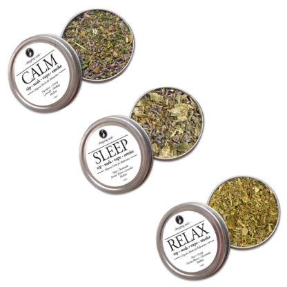 Organic Herbal Trio for Relaxation, Sleep & Destress for Smoking Tea Tisanes Bath Vape with Hops, Catnip, Passion Flower, Chamomile, Hops, Chamomile, Passion Flower, Lavender, Damiana, Skullcap + Mullein
