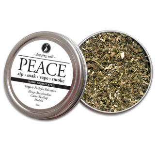 PEACE Organic Herbs for Relaxation with HEMP flower cannabinoids for Smoking Tea Bath Vape with Hemp, Marshmallow, Cacao, Skullcap + Mullein