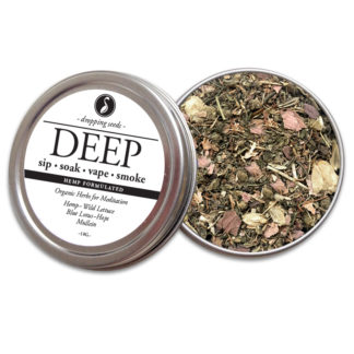 DEEP Organic Herbs for Meditation with HEMP flower cannabinoids for Smoking Tea Bath Vape with Hemp, Wild Lettuce, Blue Lotus, Hops + Mullein