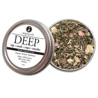 DEEP Organic Herbs for Meditation with HEMP flower cannabinoids for Smoking Tea Bath Vape with Hemp, Wild Lettuce, Blue Lotus, Hops + Mullein