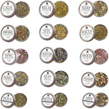 All 15 Organic Hemp Formulated Herbal Tins for Smoke Blends for Relaxation, Motivation & Mediation for Smoking Tea Bath Vape